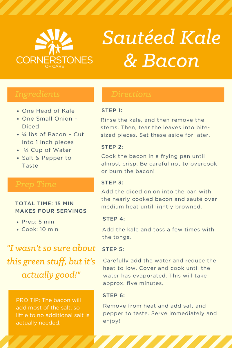 Sauteed Kale and Bacon Recipe Card - Healthy Recipe